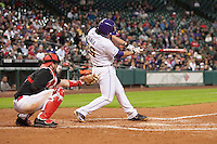 LSU Tigers first baseman Chris Chinea (26) swings the bat during the NCAA baseball game against the Houston Cougars on March 6, 2015 at Minute Maid Park in Houston, Texas. LSU defeated Houston 4-2. (Andrew Woolley/Four Seam Images)