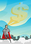 A businessman flying with vision of dollar sign depicting superman