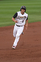 Quad Cities River Bandits second baseman Alex Hernandez (6) during a Midwest League game against the Wisconsin Timber Rattlers on May 8th, 2015 at Modern Woodmen Park in Davenport, Iowa.  Quad Cities defeated Wisconsin 11-6.  (Brad Krause/Four Seam Images)