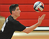 Farmingdale No. 11 Matt DeLuca serves during a Nassau County varsity boys' volleyball match against host Floral Park High School on Thursday, September 24, 2015. Floral Park won 23-25, 25-19, 25-15, 25-12.<br /> <br /> James Escher