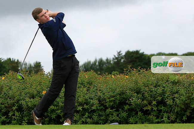 Louis O'Hara (Athenry) on the 18th tee during R1 of the 2016 Connacht U18 Boys Open, played at Galway Golf Club, Galway, Galway, Ireland. 05/07/2016. <br /> Picture: Thos Caffrey | Golffile<br /> <br /> All photos usage must carry mandatory copyright credit   (&copy; Golffile | Thos Caffrey)