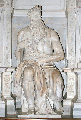 "Michelangelo's ""Moses""  which is housed in Rome, Italy at the San Pietro in Vincoli (St. Peter in Chains) Church on April 4, 2006.  The sculpture is in front of the tomb of Pope Julius II, who commissioned its creation..Credit: Ron Sachs / CNP"