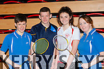 Joe Kennedy, Brendan McGovern both Annuacaul, Rachel o'Connor Dingle and Rita Knightly Annauscaul at the Badminton championships in Killarney on Sunday