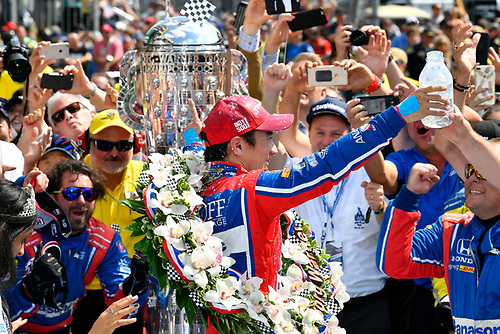 Verizon IndyCar Series<br /> Indianapolis 500 Race<br /> Indianapolis Motor Speedway, Indianapolis, IN USA<br /> Sunday 28 May 2017<br /> Takuma Sato, Andretti Autosport Honda celebrates the win in Victory Lane with milk<br /> World Copyright: Scott R LePage<br /> LAT Images<br /> ref: Digital Image lepage-170528-indy-10571<br /> ref: Digital Image lepage-170528-indy-10579