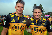 Jordy and Beauden Barrett after the Super Rugby preseason rugby union match between the Hurricanes and Crusaders at Border Rugby club in Waverley, New Zealand on Friday, 17 February 2017. Photo: Dave Lintott / lintottphoto.co.nz
