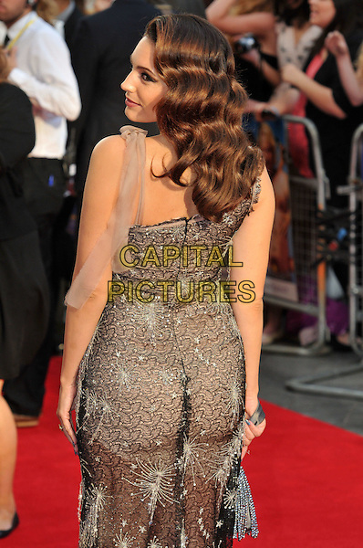 Kelly Brook.The World Premiere of 'Keith Lemon: The Film', Odeon West End, London, England..20th August 2012.half length dress back behind rear looking over shoulder strap lace black grey gray sparkly one .CAP/BF.©Bob Fidgeon/Capital Pictures.