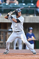 Pulaski Yankees third baseman Allen Valerio (25) awaits a pitch during a game against the Greeneville Astros on July 11, 2015 in Greeneville, Tennessee. The Yankees defeated the Astros 9-3. (Tony Farlow/Four Seam Images)