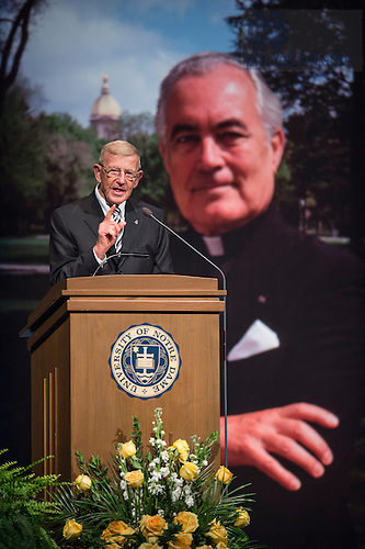 Mar. 4, 2015; Lou Holtz, former Notre Dame football coach, speaks during a tribute ceremony in the Purcell Pavilion to honor the life of the late President Emeritus Rev. Theodore M. Hesburgh, C.S.C. (Photo by Barbara Johnston/University of Notre Dame)