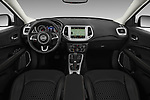Stock photo of straight dashboard view of 2017 JEEP Compass Latitude 5 Door SUV Dashboard