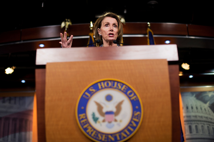 UNITED STATES - MAY 14: House Minority Leader Nancy Pelosi, D-Calif., conducts her weekly news conference in the Capitol Visitor Center, May 14, 2015. (Photo By Tom Williams/CQ Roll Call)