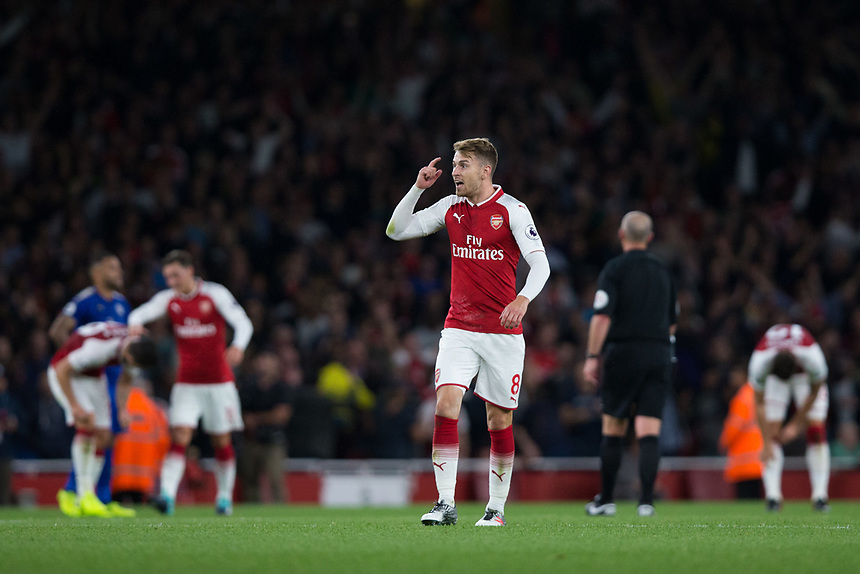 Arsenal's Aaron Ramsey reminds team mates to keep concentrating<br /> <br /> Photographer Craig Mercer/CameraSport<br /> <br /> The Premier League - Arsenal v Leicester City - Friday 11th August 2017 - Emirates Stadium - London<br /> <br /> World Copyright &copy; 2017 CameraSport. All rights reserved. 43 Linden Ave. Countesthorpe. Leicester. England. LE8 5PG - Tel: +44 (0) 116 277 4147 - admin@camerasport.com - www.camerasport.com