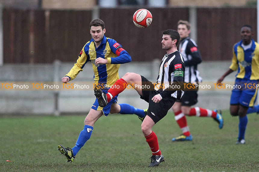Gary Henty (Tilbury) closely watched by Paul Clayton (Romford)- Romford vs Tilbury - Ryman League Division One North Football at Mill Field - 05/03/11 - MANDATORY CREDIT: George Phillipou/TGSPHOTO - Self billing applies where appropriate - 0845 094 6026 - contact@tgsphoto.co.uk - NO UNPAID USE.
