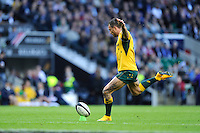 Quade Cooper of Australia takes a conversion attempt during the Killik Cup match between Barbarians and Australia at Twickenham Stadium on Saturday 1st November 2014 (Photo by Rob Munro)