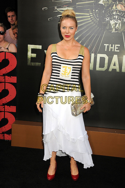 Shirly Brener.'The Expendables 2' premiere held at The Grauman's Chinese Theatre, Hollywood, California, USA..15th August 2012.full length white skirt clutch bag black white striped stripes hair up   beige   .CAP/ADM/BP.©Byron Purvis/AdMedia/Capital Pictures.
