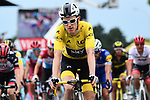 Race leader Geraint Thomas (WAL) Team Sky Yellow Jersey crosses the line safely at the end of Stage 13 of the 2018 Tour de France running 169.5km from Bourg d'Oisans to Valence, France. 20th July 2018. <br /> Picture: ASO/Alex Broadway | Cyclefile<br /> All photos usage must carry mandatory copyright credit (&copy; Cyclefile | ASO/Alex Broadway)