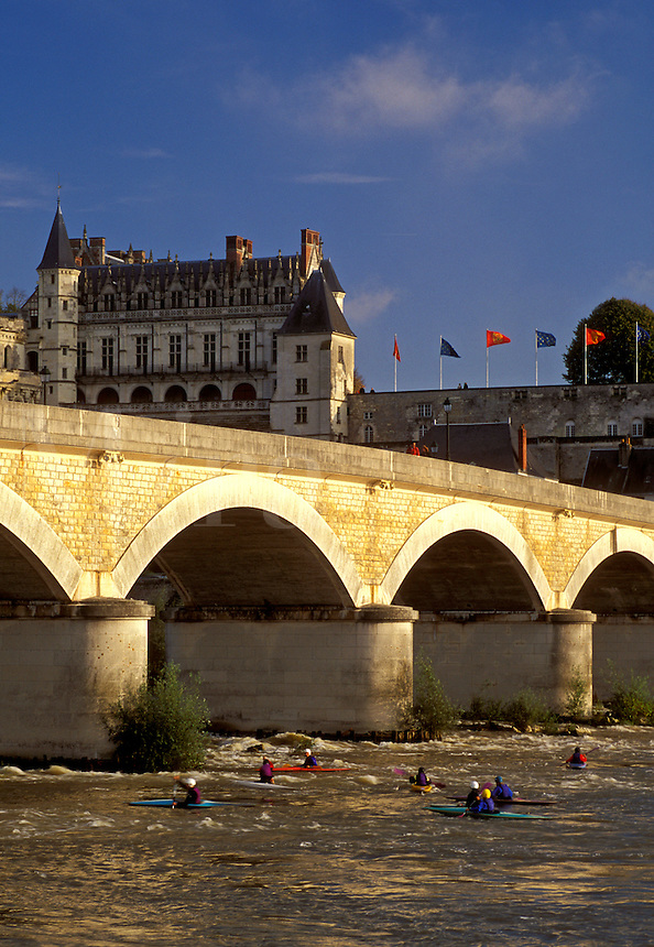 Loire Valley, France, Amboise, Loire Castle Region, Europe, Chateau Amboise a 15th century castle across the Loire River. Kayaking on the river.