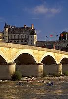 Loire Valley, France, Amboise, Loire Castle Region, Europe, Chateau Amboise a 15th century castle across the Loire River. Kayaking on the river.