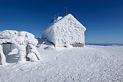 Appalachian Trail - The Summit Stage Office covered in rime ice on the summit of Mount Washington in the White Mountains, New Hampshire USA during the winter months.