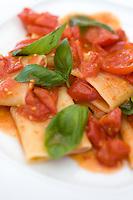 Gragnano paccheri with fresh pomodorino piennolo del Vesuvio tomato sauce