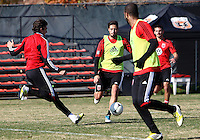 WASHINGTON, DC - NOVEMBER 14, 2012: Dejan Jakovic (5) of DC United moves in on Branko Boskovic (8) during a practice session before the second leg of the Eastern Conference Championship at DC United practice field, in Washington, DC on November 14.
