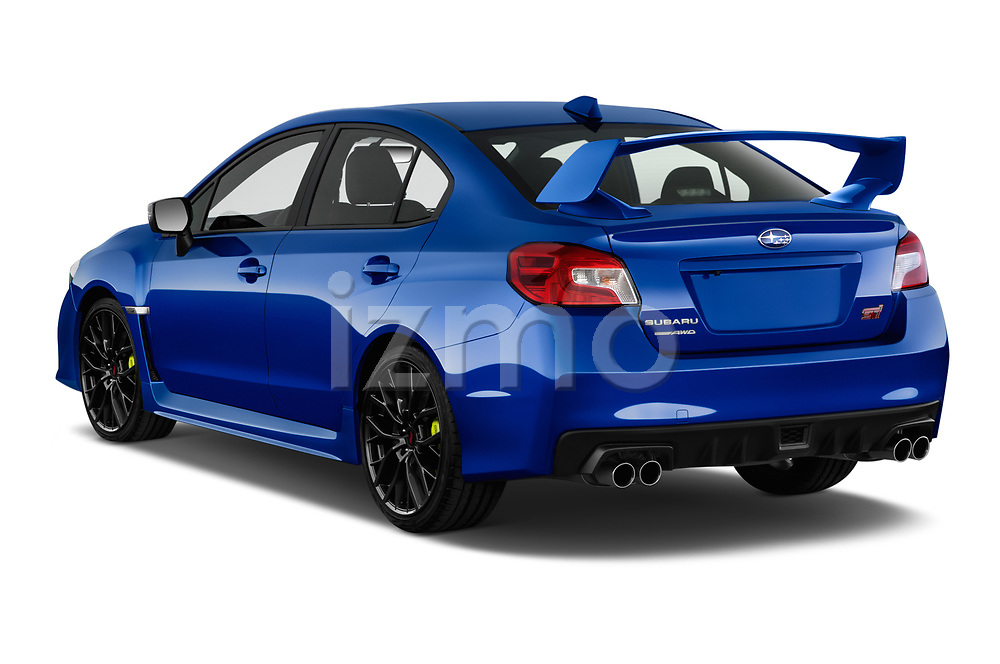 Car pictures of rear three quarter view of a 2018 Subaru WRX STI Sport Premium 4 Door Sedan angular rear