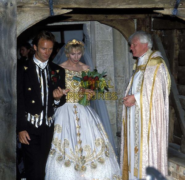 STING & TRUDI STYLER.ref: 007.www.capitalpictures.com.sales@capitalpictures.com.© Capital Pictures.wedding, bride