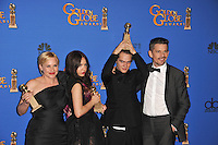 Boyhood stars Patricia Arquette, Lorelei Linklater, Ellar Coltrane &amp; Ethan Hawke at the 72nd Annual Golden Globe Awards at the Beverly Hilton Hotel, Beverly Hills.<br /> January 11, 2015  Beverly Hills, CA<br /> Picture: Paul Smith / Featureflash