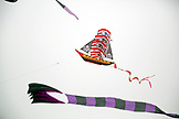 USA, Washington State, Long Beach Peninsula, kites fly in the wind at the International Kite Festival, pirate ship kite
