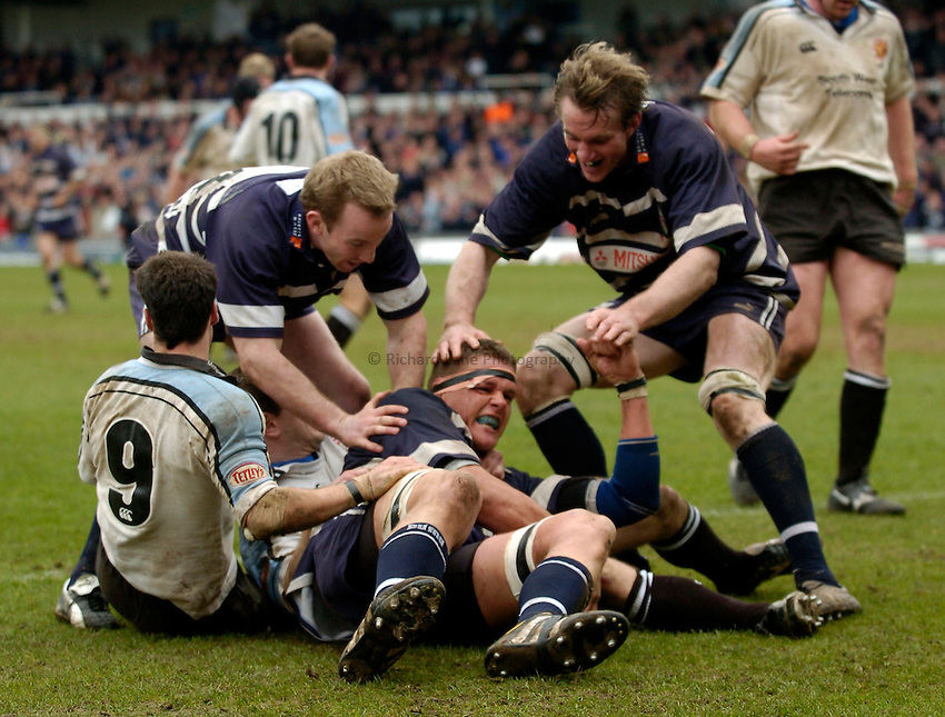 Photo. Richatd Lane..Bristol Shoguns v Exeter Chiefs. England National Division One. 27/03/2005..Ed Pearce celebrates scoring a try.