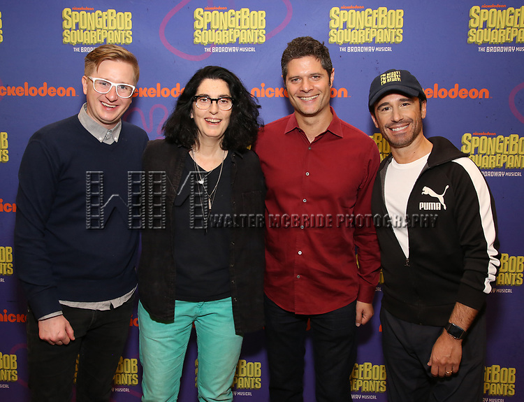 Kyle Jarrow, Tina Landau, Tom Kitt and Christopher Gattelli during the Rehearsal Press Preview of the New Broadway  Musical on 'SpongeBob SquarePants'  on October 11, 2017 at the Duke 42nd Street Studios in New York City.