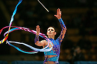 "Svetlana Rudalova of Belarus recatches ribbon during seniors All-Around at 2007 World Cup Kiev, ""Deriugina Cup"" in Kiev, Ukraine on March 17, 2007."