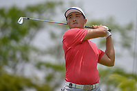 Zheng Kai BAI (CHN) watches his tee shot on 4 during Rd 2 of the Asia-Pacific Amateur Championship, Sentosa Golf Club, Singapore. 10/5/2018.<br /> Picture: Golffile | Ken Murray<br /> <br /> <br /> All photo usage must carry mandatory copyright credit (© Golffile | Ken Murray)