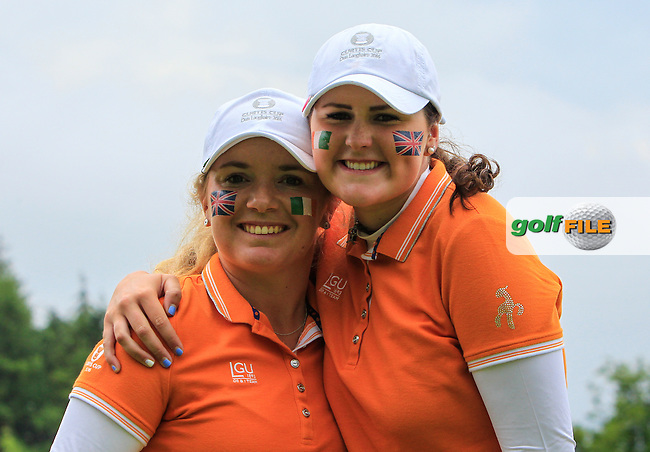 Bronte Law and  Olivia Mehaffey after winning their game on the 16th green during the Saturday Mourning Foursomes of the 2016 Curtis Cup at Dun Laoghaire Golf Club on Saturday 11th June 2016.<br /> Picture:  Golffile | Thos Caffrey