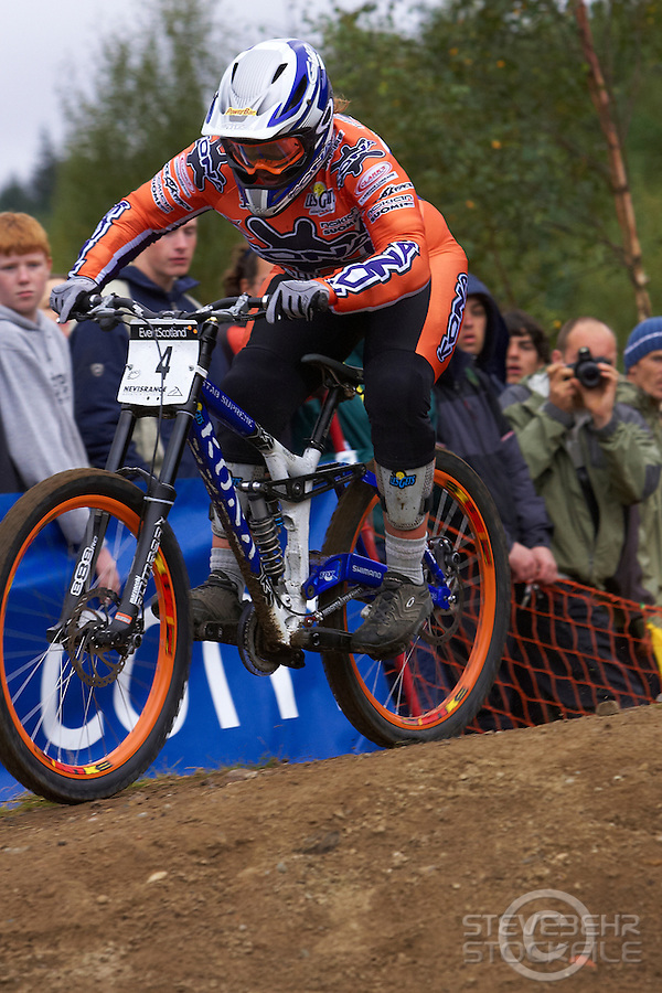 Tracy Moseley racing downhill on Kona Stab Supreme bike . Fort William World Cup September 2005 pic copyright Steve Behr / Stockfile
