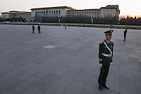 A Chinese army at Tiananmen Square, Beijing.