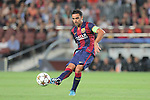 17.09.2014 Barcelona, Spain. Champions League Groups. Picture show Xavi Hernandez in action during game beteween FC Barcelona against Apoel at Camp Nou