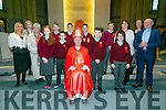 St. Ita's & St. Joseph's 5th & 6th students were confirmed by Bishop Ray Brown at St. Brendan's Church Tralee on Tuesday. Pictured Grace Sheehan (Principal), Teacher Ciara Hennessy, Teacher Anne O'Keeffe, Katie O'Mahony, Francie O'Brien, Adam Bentley, Josh Delaney, Jimmy Quilligan, Daniel Diggins, Conor Hobbs, Emma Phoenix   Bishop Ray Browne, Teacher Aileen Walsh, Teacher Ms Griffin Fr. Patsy Lynch