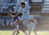 NWA Democrat-Gazette/CHARLIE KAIJO Springdale High School Hiereberto Razo (2) and Bentonville West High School Austin Pettigrew (16) collide during a soccer game, Friday, March 15, 2019 at Bentonville West in Centerton.