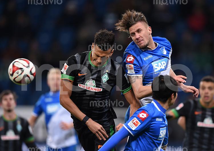 Fussball  1. Bundesliga  Saison 2014/2015  19. Spieltag in Sinzheim TSG 1899 Hoffenheim - SV Werder Bremen     04.02.2015 Davie Selke (li, SV Werder Bremen) gegen Ermin Bicakcic (re, TSG 1899 Hoffenheim)