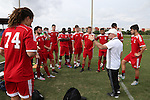 10 January 2016: Team Control head coach Kevin Anderson (Columbia) (in white) talks to his players. The adidas 2016 MLS Player Combine was held on the cricket oval at Central Broward Regional Park in Lauderhill, Florida.