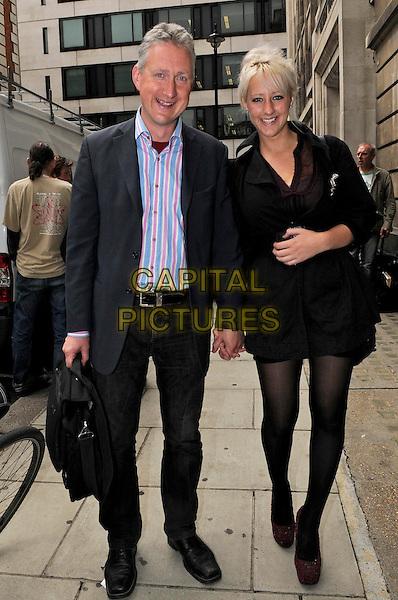 Lembit Opik & Merily McGivern.Leaving BBC Radio 2, London, England..July 21st, 2011.full length couple black suit white blue red stripe shirt dress tights holding hands bag .CAP/IA.©Ian Allis/Capital Pictures.