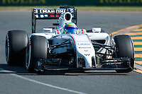 March 14, 2014: Felipe Massa (BRA) from the Williams Martini Racing team during practice session two at the 2014 Australian Formula One Grand Prix at Albert Park, Melbourne, Australia. Photo Sydney Low.