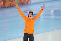 OLYMPICS: SOCHI: Adler Arena, 09-02-2014, 3000 m Ladies, Ireen Wüst viert haar winst, ©foto Martin de Jong