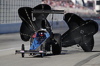 Nov 13, 2010; Pomona, CA, USA; NHRA top alcohol dragster driver Brandon Pierce during qualifying for the Auto Club Finals at Auto Club Raceway at Pomona. Mandatory Credit: Mark J. Rebilas-