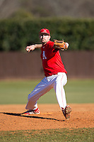Belmont Abbey Crusaders relief pitcher Tim Crawford (44) in action against the Shippensburg Raiders at Abbey Yard on February 8, 2015 in Belmont, North Carolina.  The Raiders defeated the Crusaders 14-0.  (Brian Westerholt/Four Seam Images)