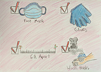 Stay safe drawing for COVID by Abby Heselton Grade 6b, Yarmouth ME, USA