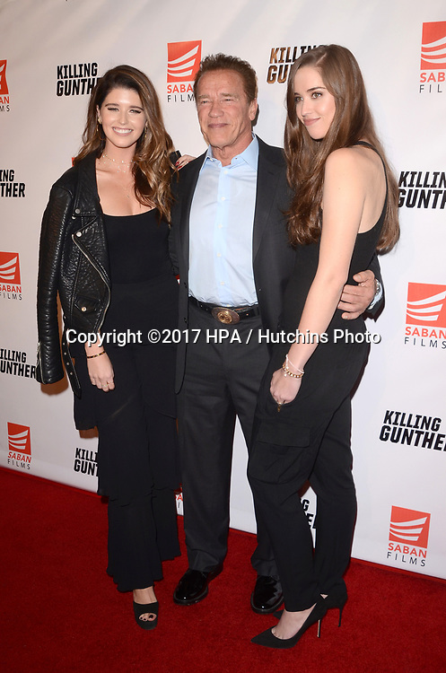 "LOS ANGELES - OCT 14:  Katherine Schwarzenegger, Arnold Schwarzenegger, Christina Schwarzenegger at the ""Killing Gunther"" Los Angeles Special Screening at the TCL Chinese 6 Theaters on October 14, 2017 in Los Angeles, CA"