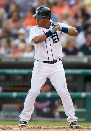 July 02, 2012:  Detroit Tigers second baseman Ramon Santiago (39) at bat during MLB game action between the Minnesota Twins and the Detroit Tigers at Comerica Park in Detroit, Michigan.  The Twins defeated the Tigers 6-4.