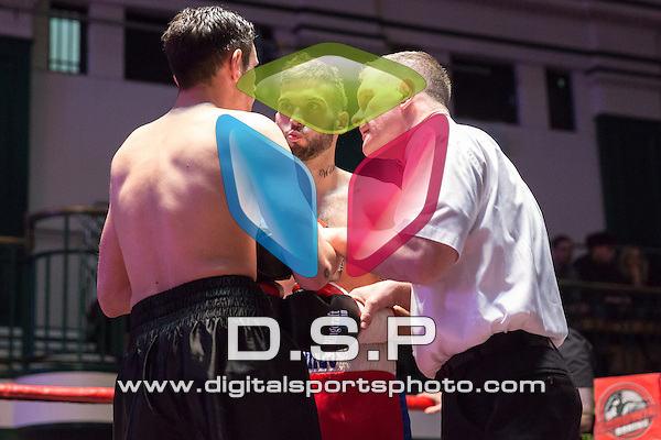 Sam Stokes VS Liam Griffiths - Middleweight Contest. Photo by: Stephen Smith.<br /> <br /> Goodwin Boxing: Paddy's Day Punch Up - Saturday 19th March 2016. York Hall, Bethnal Green, London, United Kingdom.