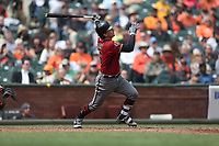 SAN FRANCISCO, CA - APRIL 11:  John Ryan Murphy #36 of the Arizona Diamondbacks bats against the San Francisco Giants during the game at AT&T Park on Wednesday, April 11, 2018 in San Francisco, California. (Photo by Brad Mangin)